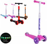 Royalbaby kids children 3 wheels scooter pink-purple Tilt to Turn LED spin and flash light